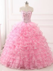 Modest Sweep Train Ball Gowns Quinceanera Dresses Baby Pink Sweetheart Organza Sleeveless Lace Up