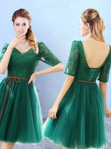 Lace Quinceanera Court Dresses Green Backless Half Sleeves Knee Length