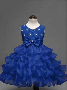 Unique Royal Blue Scoop Neckline Lace and Ruffled Layers and Bowknot Pageant Dresses Sleeveless Zipper