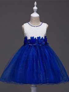 Royal Blue Sleeveless Tulle Zipper Custom Made Pageant Dress for Wedding Party