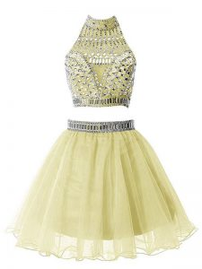 Yellow Sleeveless Knee Length Beading Zipper Damas Dress