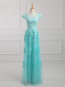 Inexpensive Tulle Scoop Short Sleeves Lace Up Beading and Lace and Appliques Mother of the Bride Dress in Aqua Blue