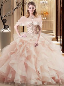 Low Price Peach 15 Quinceanera Dress Military Ball and Sweet 16 and Quinceanera with Beading and Ruffles Scoop Sleeveless Brush Train Lace Up