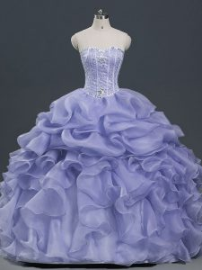 Trendy Lavender Organza Lace Up Quinceanera Dresses Sleeveless Floor Length Beading and Ruffles and Pick Ups