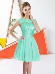 Turquoise Backless Bateau Beading and Lace Quinceanera Court Dresses Chiffon Sleeveless