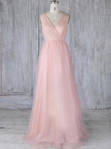 Baby Pink Zipper V-neck Lace Quinceanera Court Dresses Tulle Sleeveless