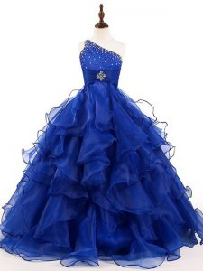 Sleeveless Beading and Ruffles Zipper Kids Formal Wear
