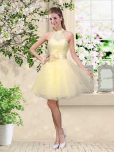 Designer Halter Top Sleeveless Quinceanera Court of Honor Dress Knee Length Lace and Belt Light Yellow Tulle