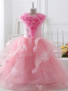 Floor Length Ball Gowns Sleeveless Baby Pink Little Girls Pageant Dress Zipper