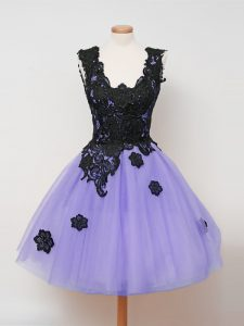 Sleeveless Tulle Knee Length Zipper Dama Dress in Lavender with Lace