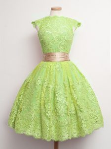 High-neck Cap Sleeves Lace Quinceanera Court Dresses Belt Lace Up