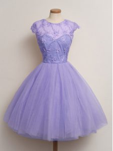Best Cap Sleeves Knee Length Lace Lace Up Dama Dress for Quinceanera with Lavender