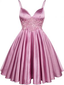 Lovely Sleeveless Elastic Woven Satin Knee Length Lace Up Quinceanera Court of Honor Dress in Lilac with Lace