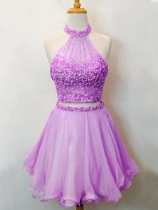 Beading Dama Dress for Quinceanera Lilac Lace Up Sleeveless Knee Length