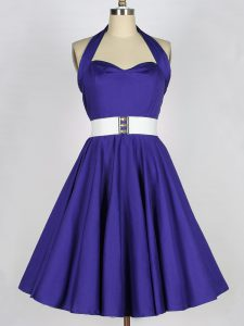 Exquisite Purple Sleeveless Taffeta Lace Up Dama Dress for Prom and Party and Wedding Party