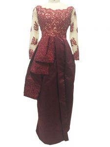 High Quality Burgundy Long Sleeves Lace and Appliques Floor Length Mother of Bride Dresses