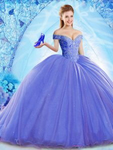 Organza Off The Shoulder Sleeveless Brush Train Lace Up Beading Quinceanera Gowns in Blue
