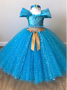 Fantastic Baby Blue Ball Gowns Off The Shoulder Cap Sleeves Tulle Floor Length Zipper Sequins and Belt Girls Pageant Dresses