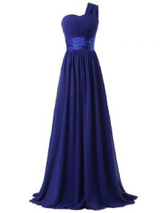 Most Popular Floor Length Royal Blue Court Dresses for Sweet 16 One Shoulder Sleeveless Lace Up