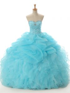 Great Organza Sweetheart Sleeveless Lace Up Beading and Ruffled Layers Ball Gown Prom Dress in Aqua Blue
