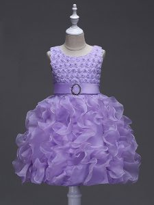 Scoop Sleeveless Lace Up Kids Formal Wear Lavender Organza