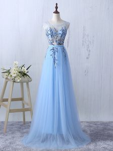 Light Blue Side Zipper Quinceanera Court of Honor Dress Appliques Sleeveless Floor Length