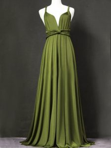 Charming Sleeveless Chiffon Floor Length Criss Cross Vestidos de Damas in Olive Green with Ruching
