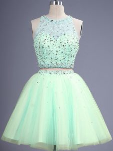Simple Beading Quinceanera Court of Honor Dress Apple Green Lace Up Sleeveless Knee Length