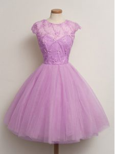 Excellent Tulle Cap Sleeves Knee Length Quinceanera Dama Dress and Lace