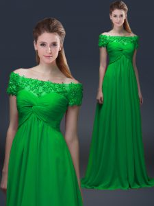Unique Green Empire Chiffon Off The Shoulder Short Sleeves Appliques Floor Length Lace Up Mother of the Bride Dress