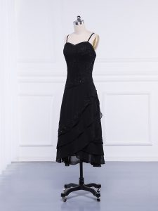 High Quality Black Straps Zipper Lace and Appliques Mother of Groom Dress Sleeveless