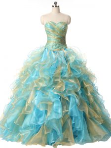 Sophisticated Sleeveless Organza Floor Length Lace Up Sweet 16 Dress in Multi-color with Beading and Ruffles