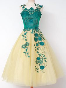 Most Popular Knee Length Gold Quinceanera Court Dresses Tulle Sleeveless Appliques