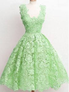 Great Sleeveless Knee Length Lace Zipper Quinceanera Court Dresses with