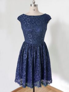 Empire Dama Dress for Quinceanera Royal Blue Scoop Lace Cap Sleeves Knee Length Lace Up