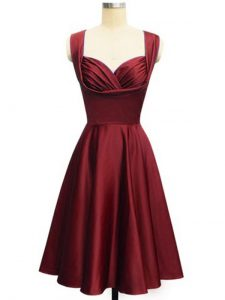 Knee Length Wine Red Dama Dress Straps Sleeveless Lace Up