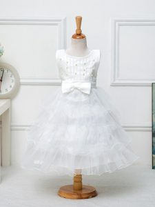 Organza Sleeveless Tea Length Pageant Dress for Teens and Ruffled Layers and Bowknot
