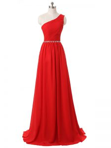 Simple Red Sleeveless Floor Length Beading and Ruching Side Zipper Dama Dress for Quinceanera