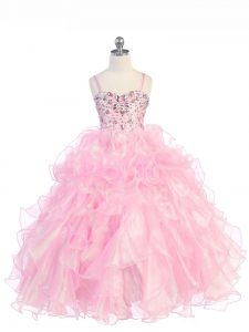 Baby Pink Lace Up Little Girls Pageant Gowns Beading and Ruffles Sleeveless Floor Length