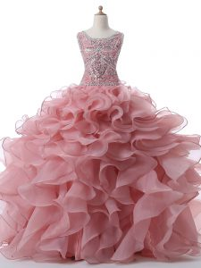 Pink Zipper Scoop Beading and Ruffles Quinceanera Gowns Organza Sleeveless