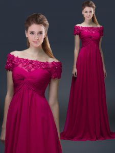Custom Design Off The Shoulder Short Sleeves Lace Up Mother of the Bride Dress Fuchsia Chiffon