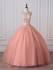 Peach Ball Gown Prom Dress Military Ball and Sweet 16 and Quinceanera with Beading Scoop Sleeveless Zipper