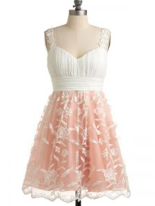 Great Peach Empire Lace Straps Sleeveless Lace Knee Length Lace Up Quinceanera Dama Dress