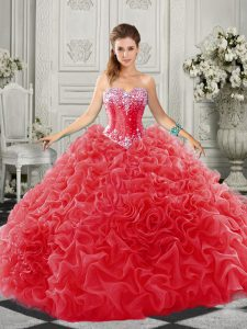 Spectacular Lace Up Sweet 16 Dresses Red for Military Ball and Sweet 16 and Quinceanera with Beading and Ruffles Court Train