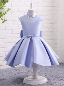 Ball Gowns Kids Pageant Dress Lavender High-neck Taffeta Cap Sleeves Knee Length Zipper