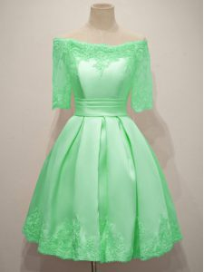 Apple Green A-line Off The Shoulder Half Sleeves Taffeta Knee Length Lace Up Lace Quinceanera Court Dresses