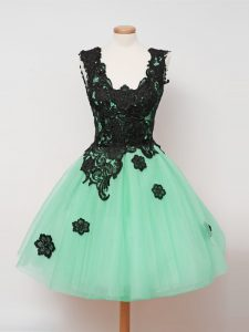 New Style Turquoise Tulle Zipper Straps Sleeveless Knee Length Quinceanera Court Dresses Lace