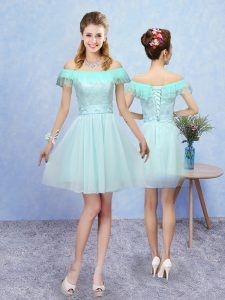 Off The Shoulder Cap Sleeves Lace Up Dama Dress Aqua Blue Tulle
