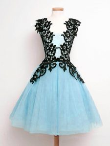 Sweet Straps Sleeveless Lace Up Dama Dress Aqua Blue Tulle