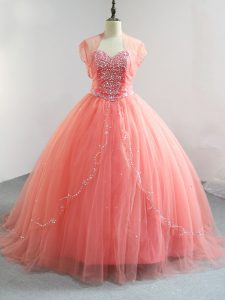 Luxury Watermelon Red Tulle Lace Up V-neck Sleeveless Floor Length Sweet 16 Quinceanera Dress Beading